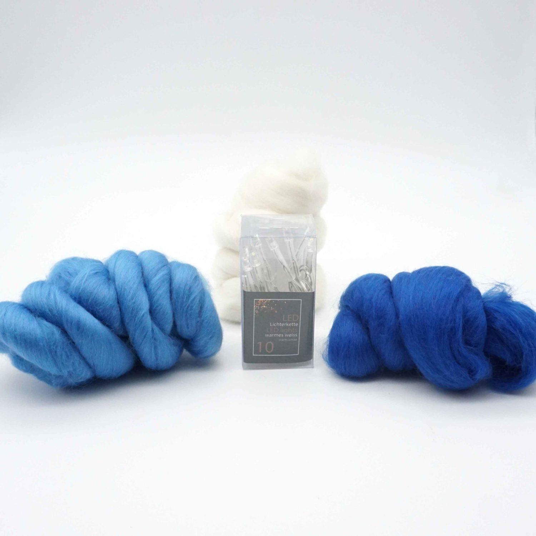 Bastelset Blütenlichterkette filzen Nassfilzen mit Anleitung