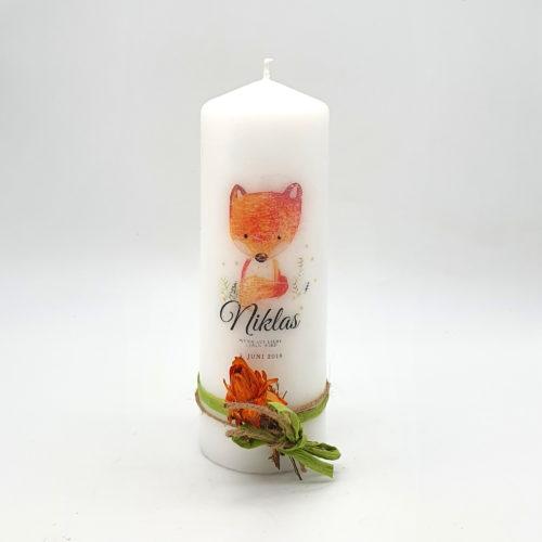 Kerze personalisiert Fuchs Geschenk zur Geburt