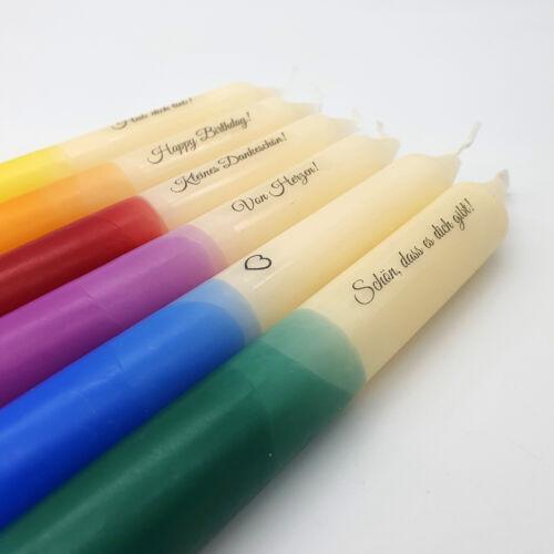 Dip dye Kerzen mit Spruch bunt