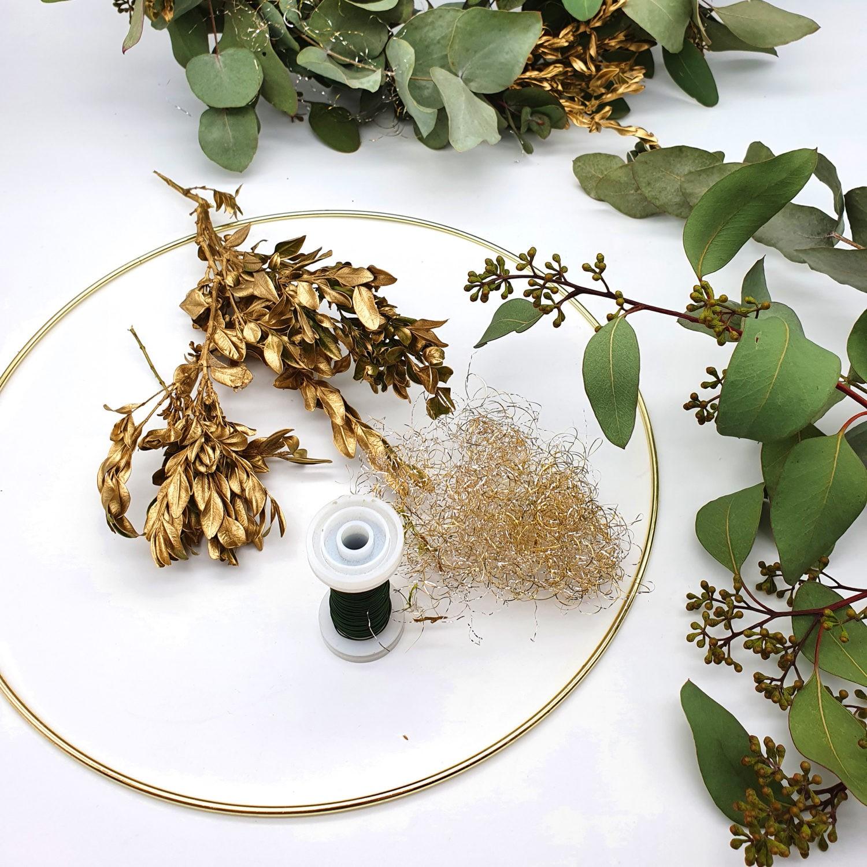 DIY Bastelset Eukalyptuskranz Gold Ring