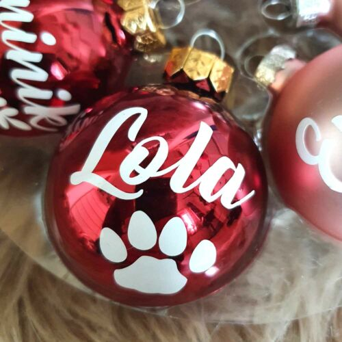 Christbaumkugeln personalisiert mit Namen Hunde Katzen