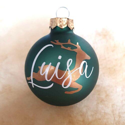 Weihnachtskugeln personalisiert mit Namen Rentier