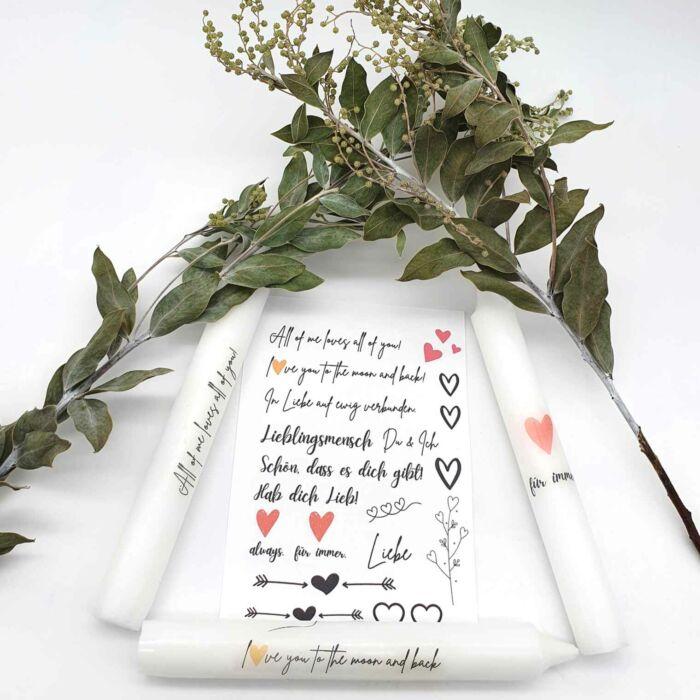 Bastelset für Kerzen Thema Liebe Valentinstag
