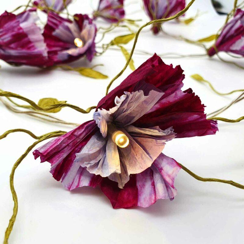 Blütenlichterkette aus Papiergarn Bastelset