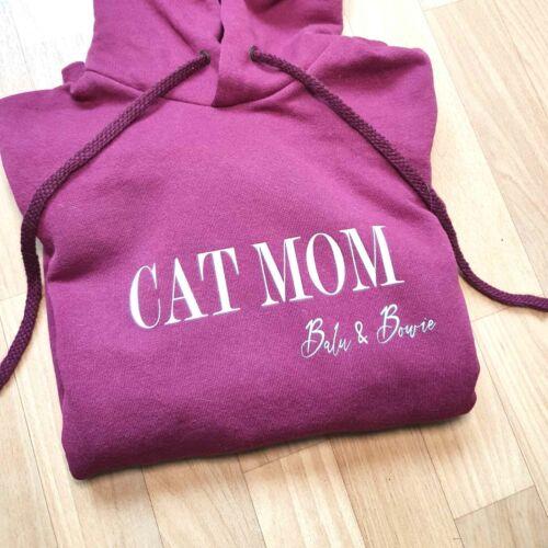 Cat Mom Hoodie mit Namen personalisert als Geschenk