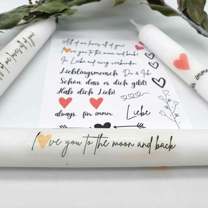 Kerzen Sticker Bastelset Liebe Valentinstag