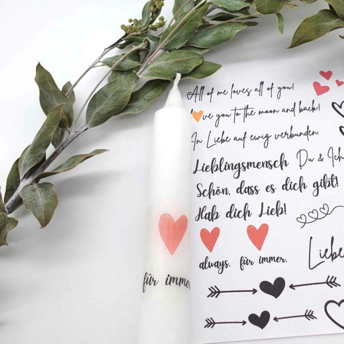 Kerzen Sticker Bastelset Liebe Valentinstag Geschenk