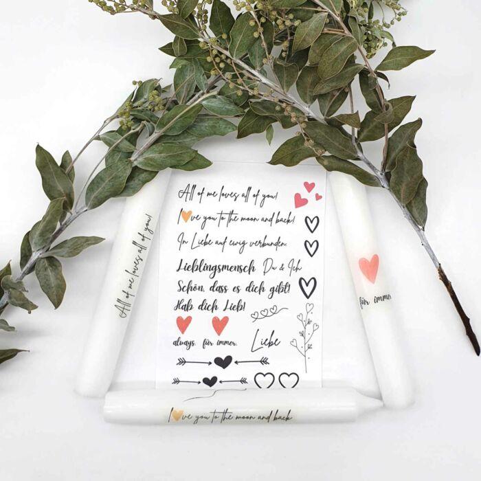 Kerzen Sticker Bastelset Liebe zum Valentinstag