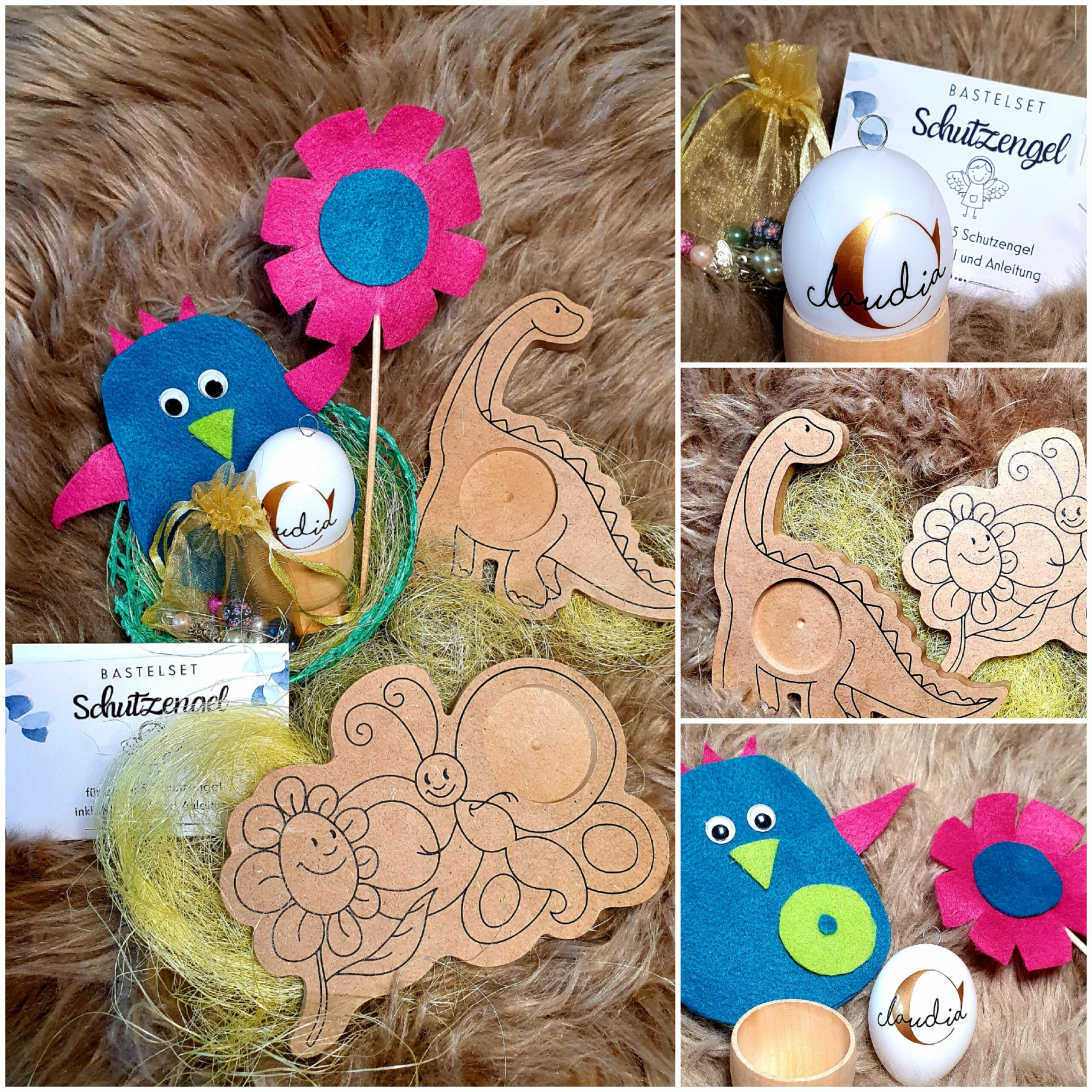Osterkörbchen mit personalisertem Ei und Bastelsets
