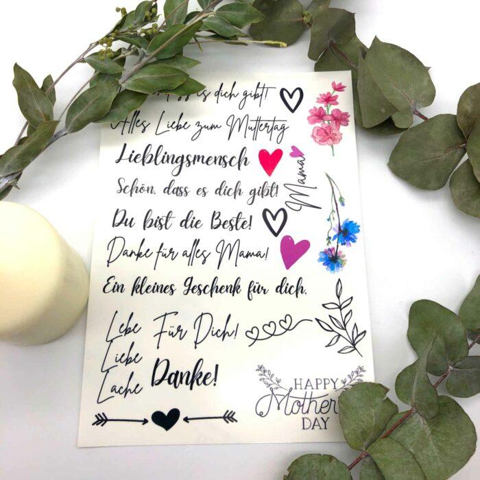 Spruchkerzen DIY Set Muttertag Bastelset Kerzen gestalten