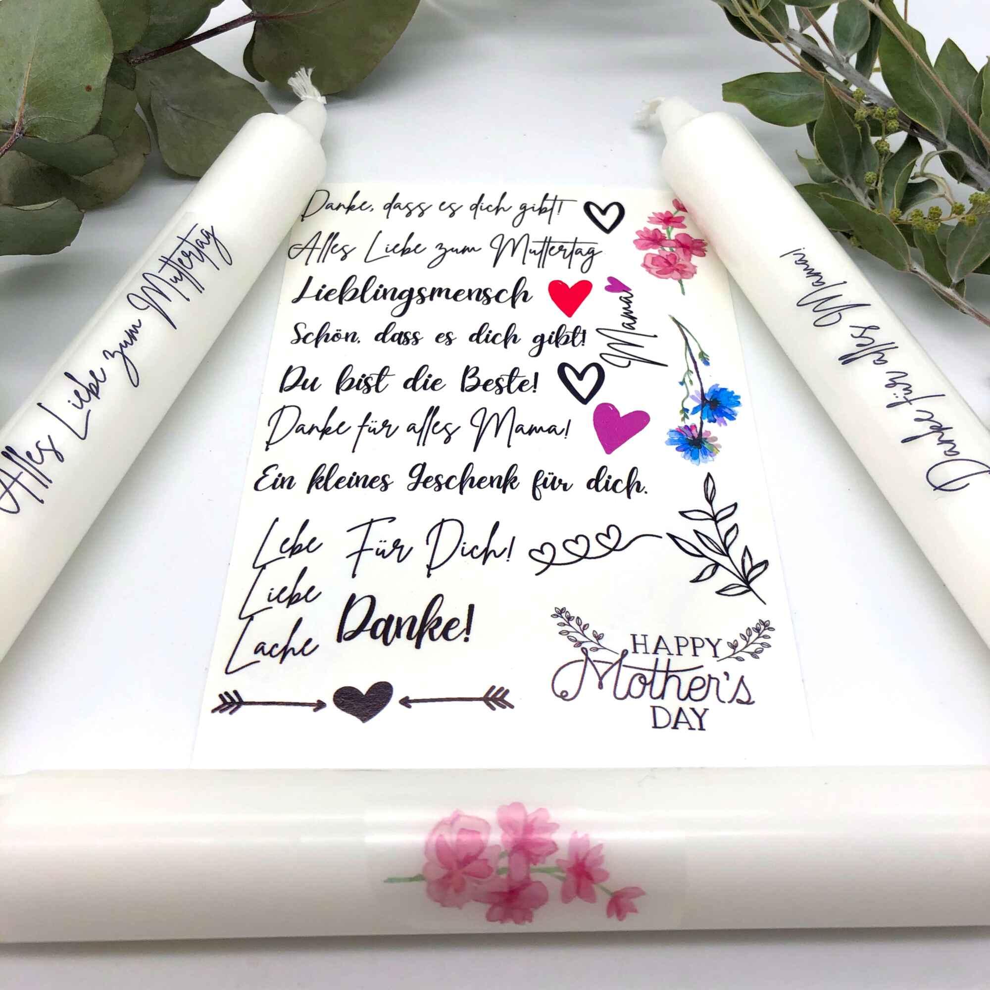 Spruchkerzen DIY Set Muttertag Bastelset Kerzen gestalten Kerzen verzieren Frontal