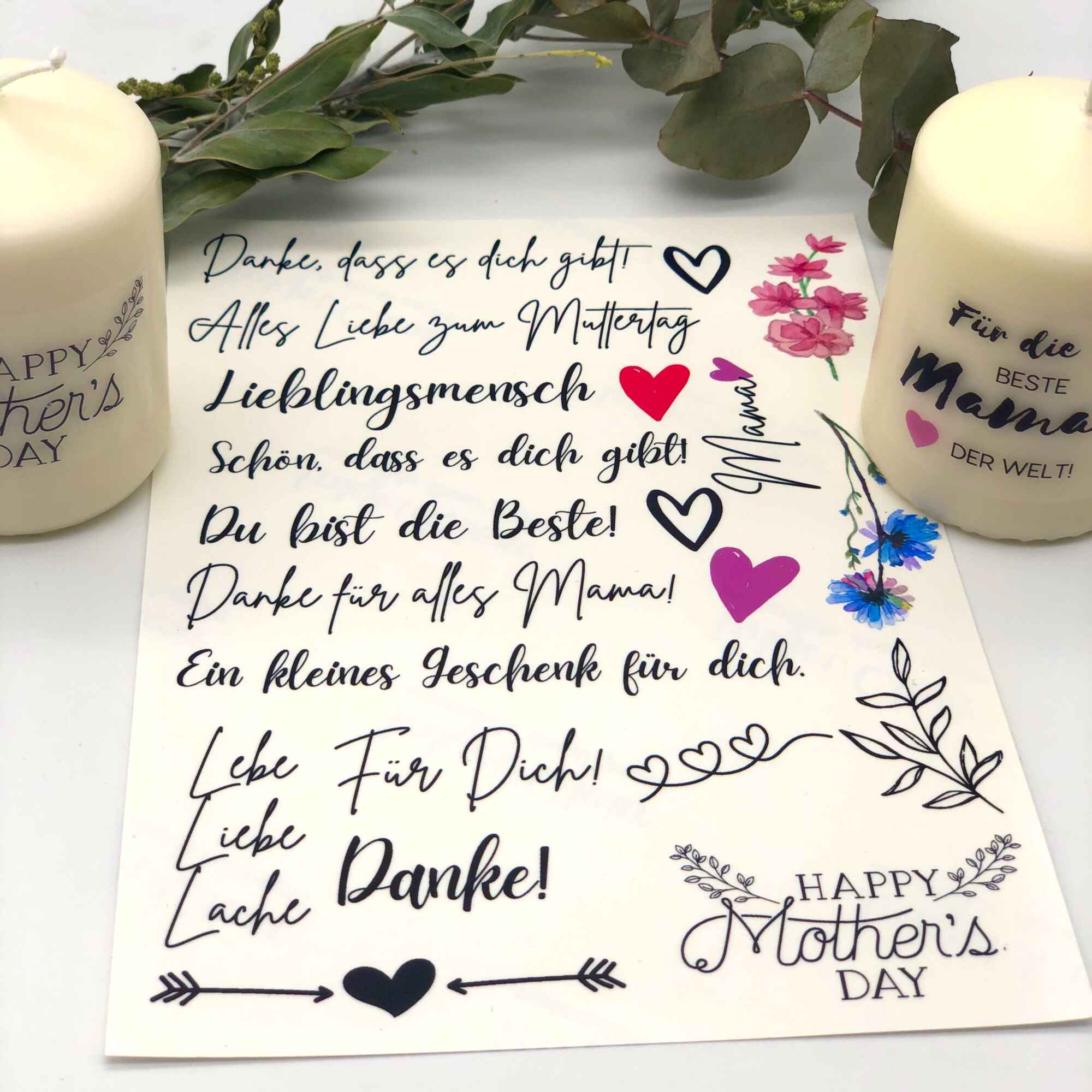 Spruchkerzen DIY Set Muttertag Bastelset Kerzen gestalten Kerzen verzieren
