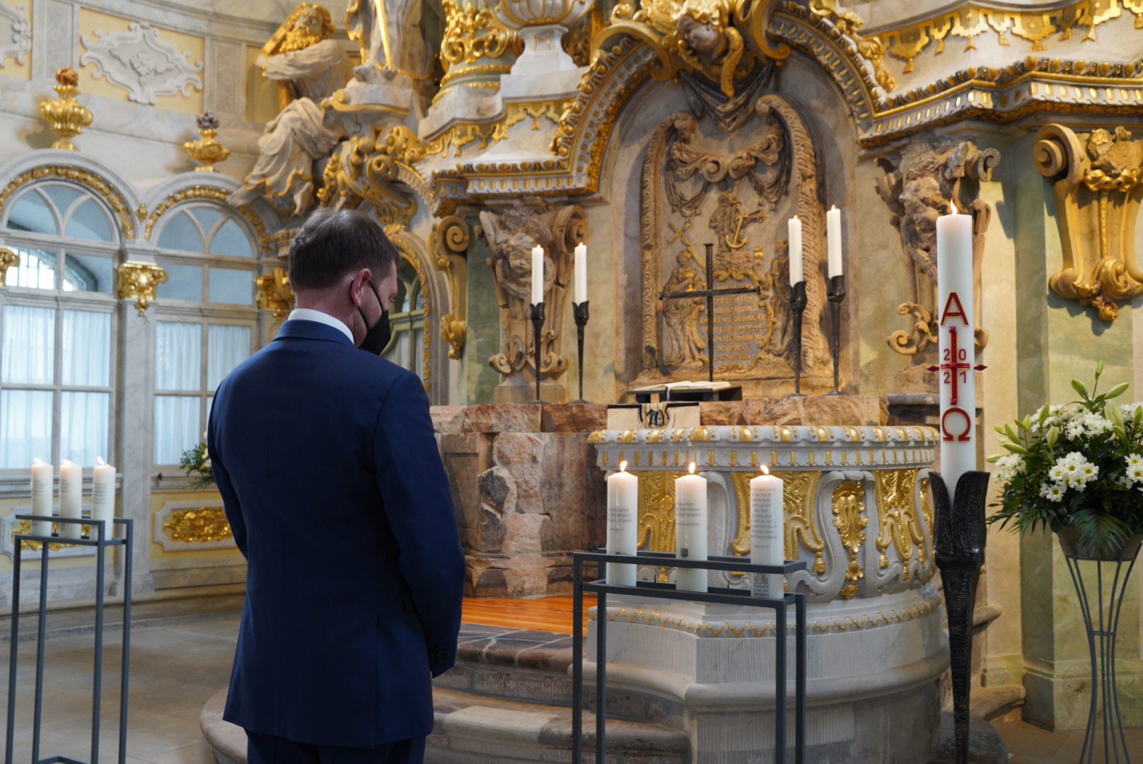 Kerze Ministerpräsident Kretzschmar Sachsen Frauenkirche Individuelle Kerze Trauerkerze