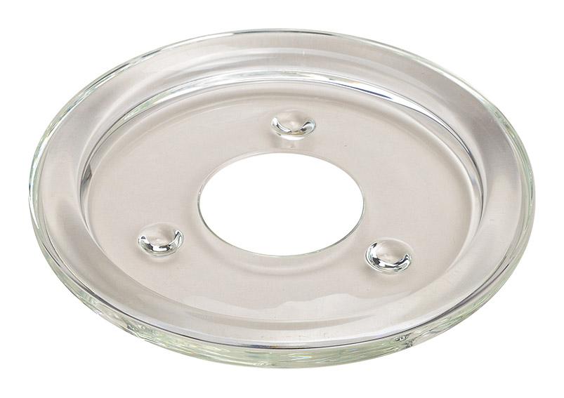 Kerzenuntersetzer aus Glas transparent 13 cm